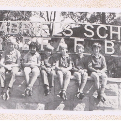 boys on front fence image